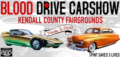 Blood Drive Carshow Comes to Yorkville, IL, Kendall County Fairgrounds May 12