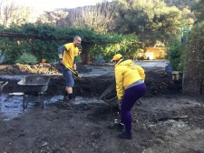 Scientology Volunteer Ministers helping neighbors dig out from the mudslides in La Tuna Canyon in Burbank, California
