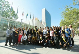 Youth Delegates in front of UN headquarters in New York
