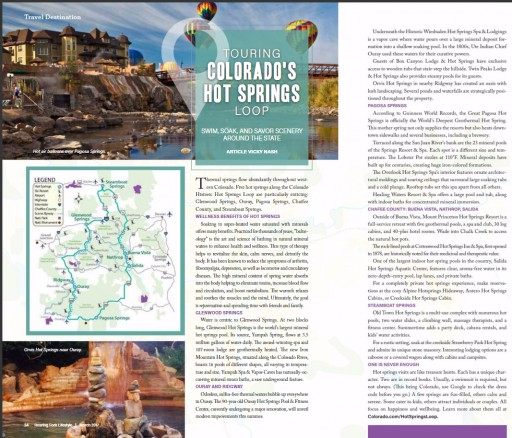 Roaring Fork Lifestyle magazine:  Touring Colorado's Hot Springs Loop