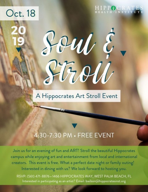 Hippocrates Health Institute Invites Artists and Musicians to Join in the First Art & Soul Stroll on Friday, October 18th, 2019