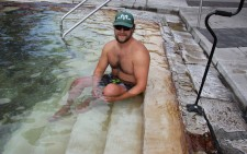 Nate White soaks in the thermal waters at Glenwood Hot Springs
