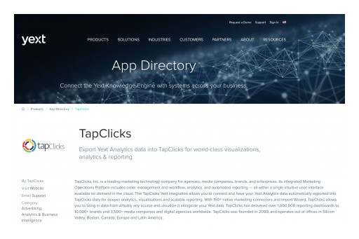 TapClicks Partners With Yext App Directory for Powerful Integrations