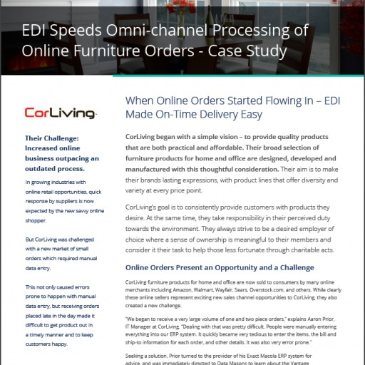 Exact Macola Customer CorLiving Speeds Omni-Channel Processing of Online Orders With EDI From Data Masons