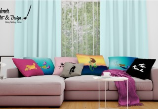 A variety of mermaid throw pillows