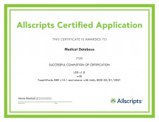 Medical Database, Inc. is now Allscripts Certified!