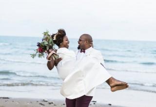 Happy Couple at Beach Wedding