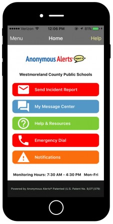 Anonymous Alerts anti-bullying and safety reporting app for Westmoreland County Public Schools