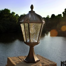 Royal Bulb Solar Pier Light Brushed Bronze