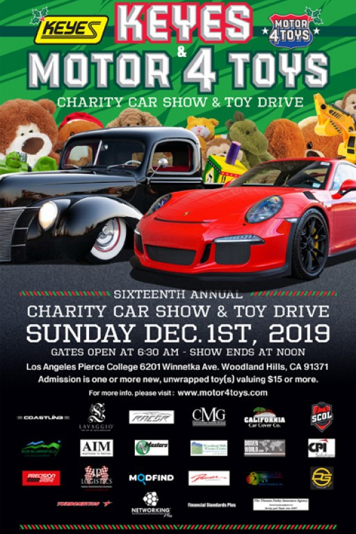 Motor4Toys, the World's Largest Charity Car Show and Toy Drive, Takes Place December 1, Presented by Keyes Cars and Porsche Woodland Hills