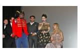 Actress Vida Ghaffari on stage with Director Romaine Simon and castmates