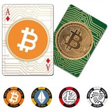 Cryptocurrency-themed playing cards and poker chips