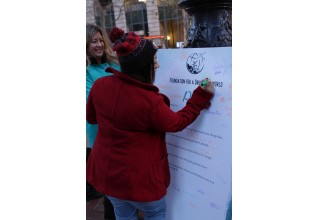 Volunteers collect signatures on their drug-free pledge