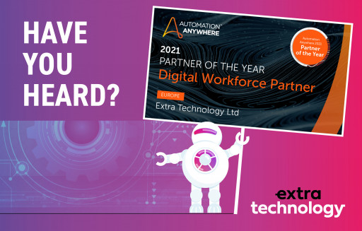 Extra Technology Named 2021 Digital Workforce Partner (Europe) of the Year by Automation Anywhere