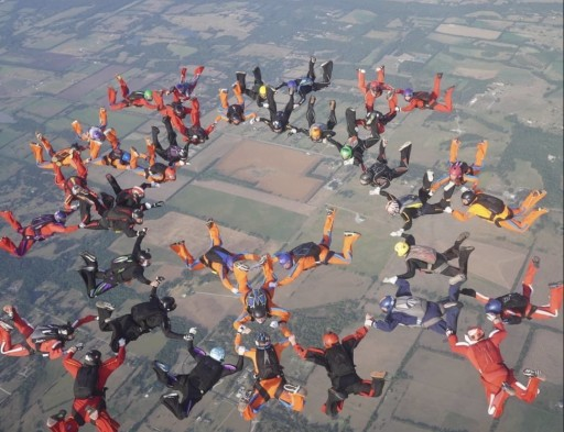 Coronavirus Skydive Formation Colors Texas Sky