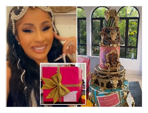 Cardi B Shows Off Bellesa Sex Toys, Vibrators & Extravagant Five-Tier WAP Birthday Cake to Her 80M Followers