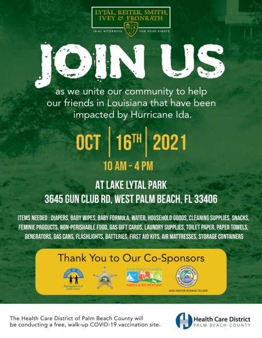 West Palm Beach Law Firm and Local Agencies Organize Hurricane Ida Louisiana Disaster Relief Drive
