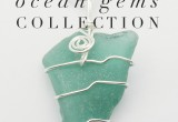 Wire Wrapped Teal Sea Glass Necklace
