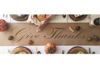 Give Thanks kraft paper table runner