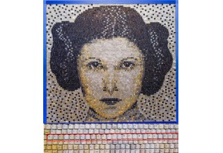 Portrait of Princess Leia™ made from 6,872 keyboard keys