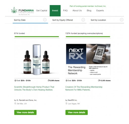 Fundanna Receives Equity Investment From Digital Arts Media Network for Continued Rollout of Cannabis Crowd Funding Platform, Fundanna.com