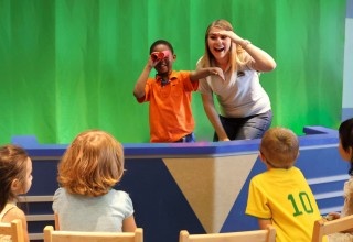 Students using Green Screen Technology in the Picture Paradise TV Studio at Children's Learning Adventure