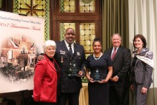 Recipients of 2017 Humanitarian Awards, Officer Arthur Douglas, and Ms. Andrea James (second and third from left) Oct. 24 at the Church of Scientology National Affairs Office in Washington, D.C.