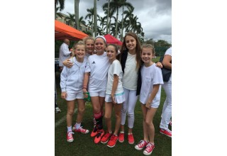 Olivia and her friends at last year's memorial soccer tournament