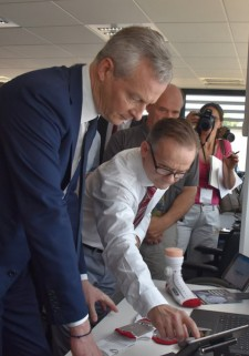 Bruno Le Maire, France's Minister of the Economy, Views the PUP Sock In Action