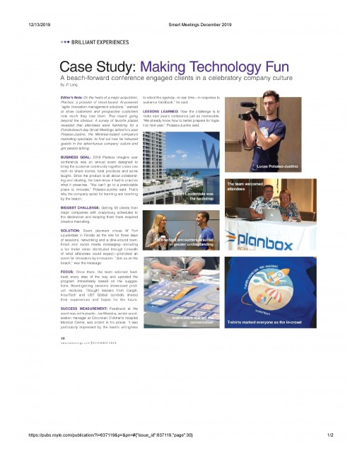 Smart Meetings Magazine December 2019 Issue | Case Study: Making Technology Fun