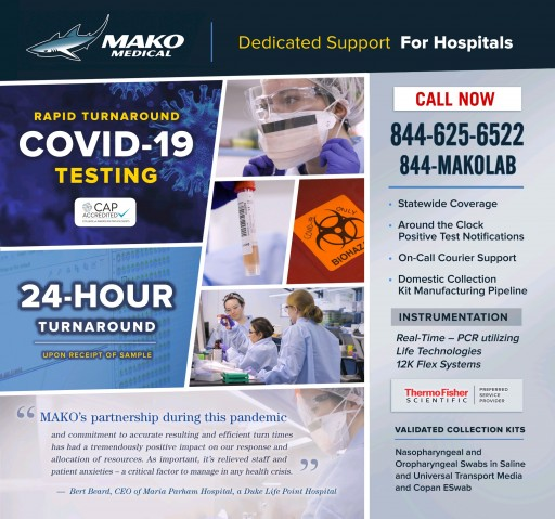 Mako Medical to Provide N.C. Treasurer Folwell and State Health Plan With COVID-19 Testing
