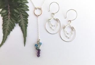 Avalon Necklace with Jubilee Earrings in Silver