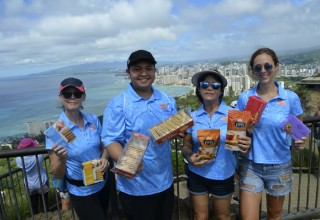 Diamond Bakery Team at the top of Diamond Head