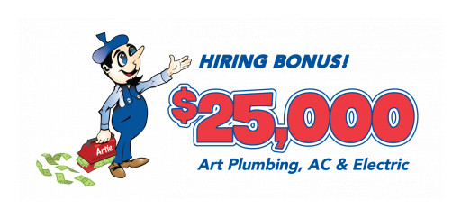 Art Plumbing, AC & Electric Offers $25,000 Hiring Bonus for ALL Technician Positions