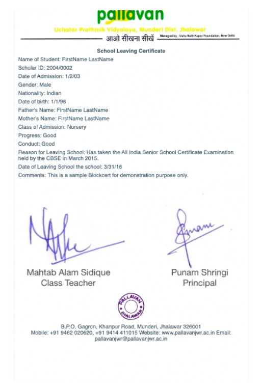First Blockcerts Issued in India: Pallavan School and Vasant Valley School, Facilitated by Pallavan Learning Systems and Learning Machine, Issue Blockchain Credentials