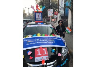 "Youth for Human Rights India sponsored a car in the Women's Car Rally in support of the ""Save the Girl Child"" Campaign"