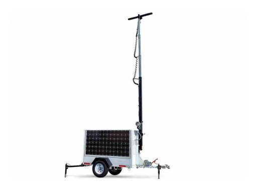 Larson Electronics Releases Solar LED Light Tower, (2) 165W Panels, 16-Foot Mast, (2) 12V 250aH Batteries