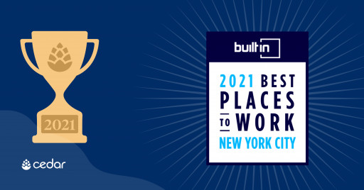 Cedar Honored by Built In in Its Esteemed 2021 Best Places to Work Awards