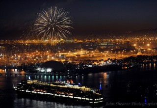 Fireworks Light-Up the Queen Mary in Long Beach Harbor