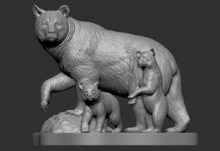 Rendering of Mother Bear with Cubs Monument Concept