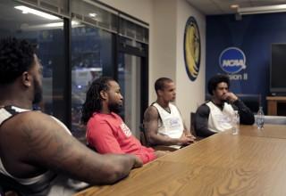 (left to right) Kawann Short (Carolina Panthers), Josh Norman (Washington Redskins), Jordan Poyer (Buffalo Bills), Vic Beasley (Atlanta Falcons)