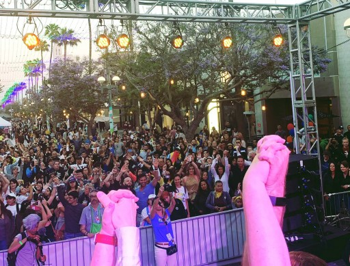 TLC Creative Lit Up Santa Monica's Gay Pride Festival With Rainbow Colors on the Light Up Wristbands Known as Xylobands