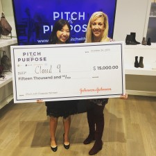 Pitch with Purpose Winner Cloud 9 Accepts Check from Alice's Elizabeth Gore