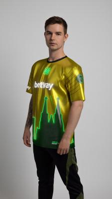 Esports player Dev1ce wearing digital Shinobi Cologne jersey