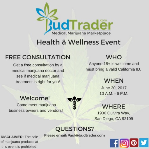 BudTrader.com to Provide Free Consultation by Medical Marijuana Doctor at Their Health and Wellness Event