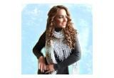 Hand knit Italian Ladder Ribbon Yarn Scarf modeled by Elena Chocholko