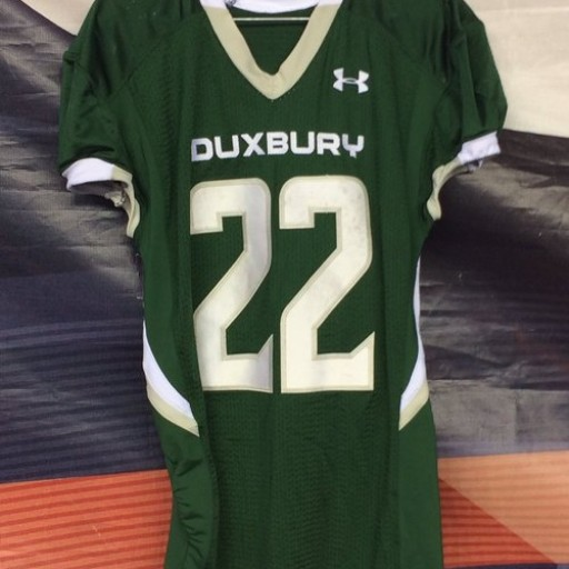 Twenty16 New England Patriots Hall of Fame Elite Inductee is Duxbury HS Football Player, Devin DeMeritt #22 Jersey