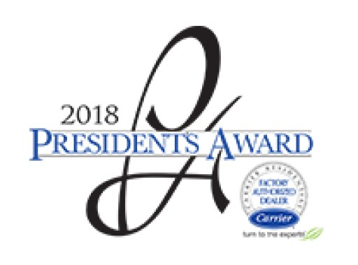 Bloomfield Cooling, Heating & Electric is Recognized With Carrier 2018 President's Award