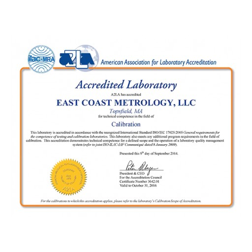 A2LA Grants ECM Expanded Scope for ISO/IEC 17025:2005 Accredited Laboratory
