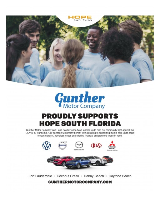 Gunther Motor Company Invests $25,000 in HOPE South Florida to Aid in Their Work in Combating the Community Impact of COVID-19